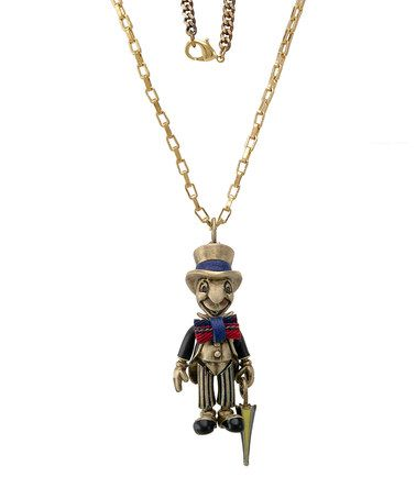 Take a look at this Gold Jiminy Cricket Necklace by Disney Couture Jewelry on #zulily today!