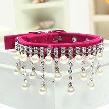 2016 шику кристалл перл кошки ожерелье ошейники для собак одежды ювелирных изделий собаки аксессуары щенок продукт красный розовый черный sml(China (Mainland))