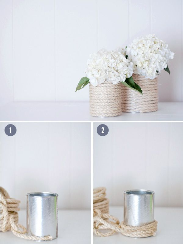 Rope-Wrapped Vases / 37 Things To DIY Instead Of Buy For Your Wedding www.honeybeegardens.com