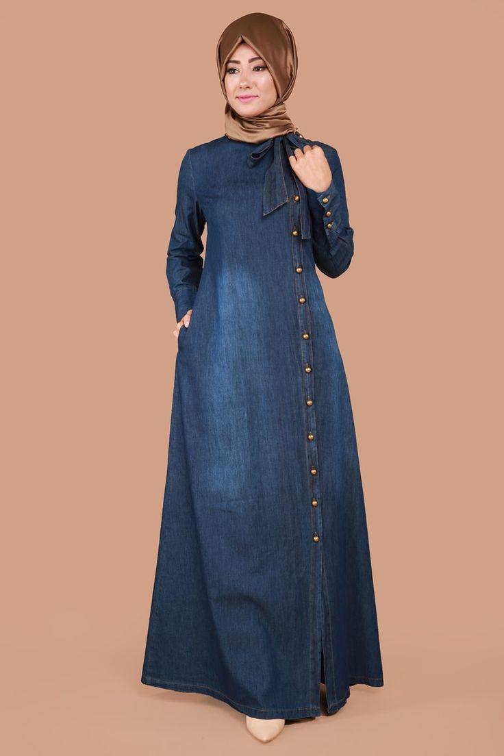Yandan Düğmeli Fularlı Kot Elbise MSW8140-S Koyu Kot