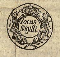 Del av Placat 1687 Locus Sigilli (LS)
