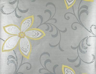 Modern Flower Wallpaper Yellow Silver Grey Floral