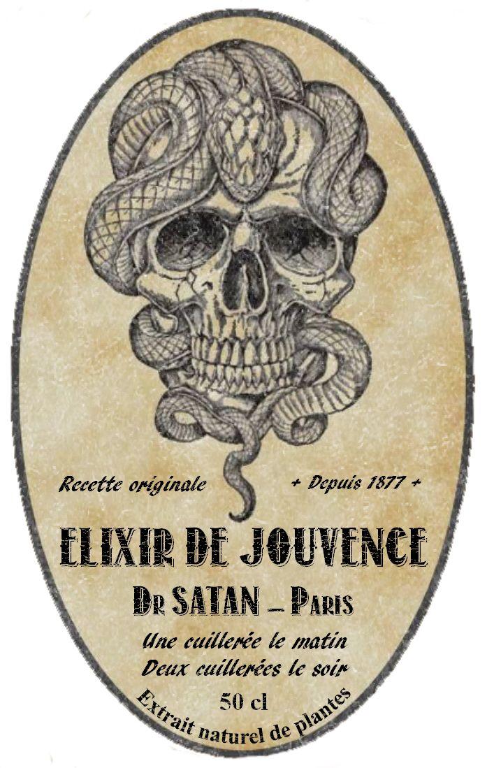 Label bottle Halloween Apothecary : Skull poison printable : Elixir de jouvence