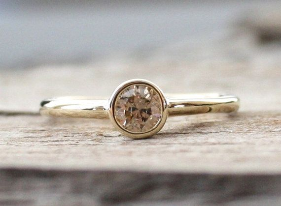 Simple Solitaire Champagne Diamond Engagement Ring in 14K Yellow Gold