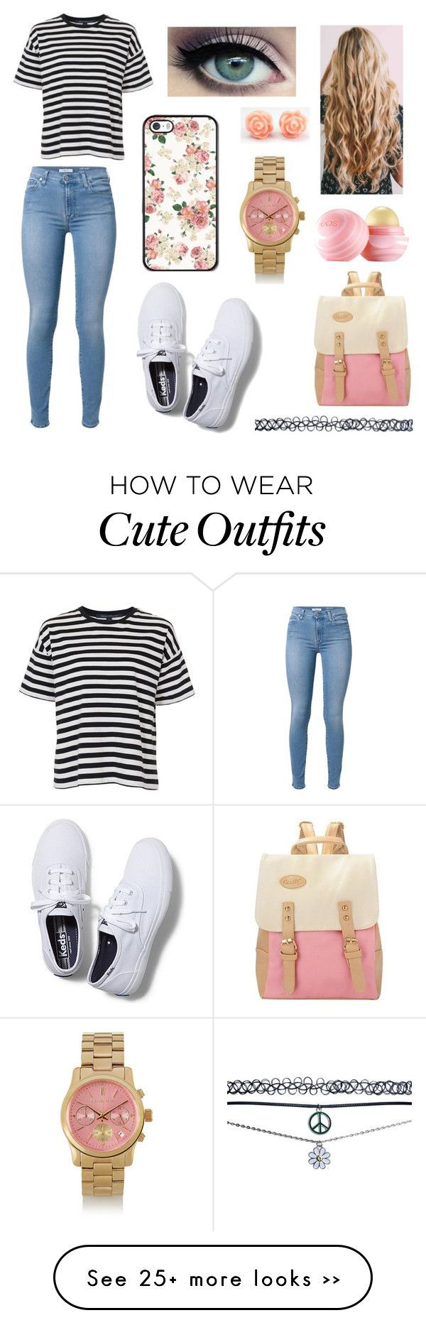 """Simple school outfit"" by katelyn-huynh on Polyvore featuring French Connection, 7 For All Mankind, Keds, Michael Kors, Wet Seal and Eos"
