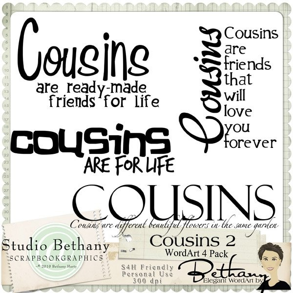 Cousins 2 WordArt Pack By Bethany