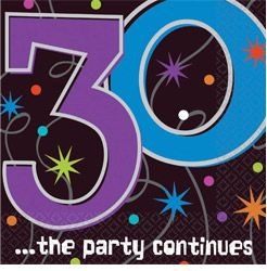 A519794 - The Party Continues Luncheon Napkins Luncheon Napkin 30th The Party Continues (33cm x 33cm) - Pack of 16