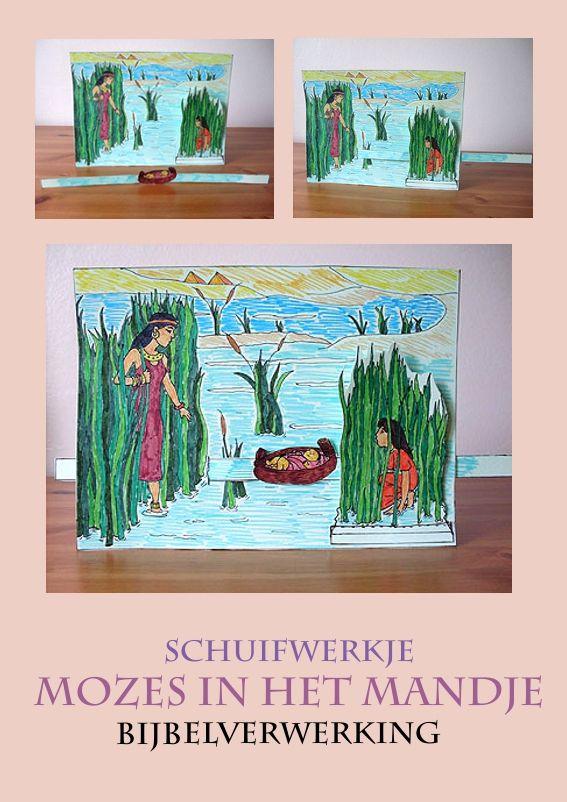 Mozes in het biezen kistje, schuifplaat, knutselen verwerking, free printable, kleuteridee.nl