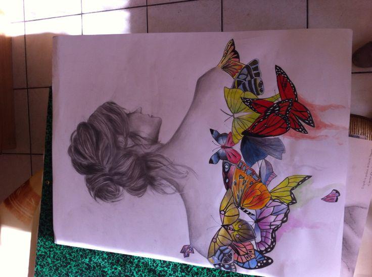 Femme papillon peinture et dessin