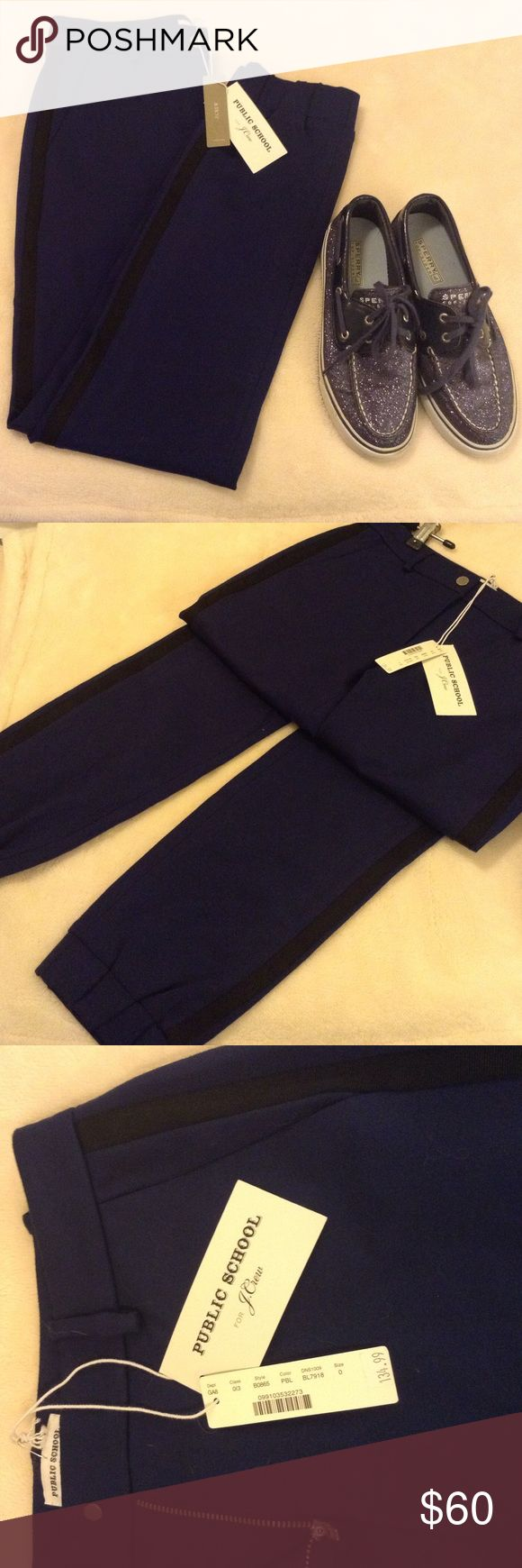 'Public School' for J.Crew Scarlet sweatpant 68% viscose 27% nylon 5% spandex luxury sweatpants joggers, these can be dressed up or down, navy with black stripe. Belt loops, zipper and snap closure. Super comfy chic! J. Crew Pants Track Pants & Joggers