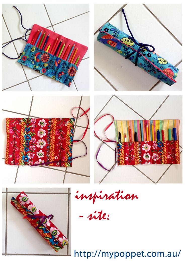 étui à crayons DIY pencil case DIY пенал для цветных карандашей excellent tuto sur http://mypoppet.com.au/makes/2009/09/10-minute-pencil-roll-tutorial.html