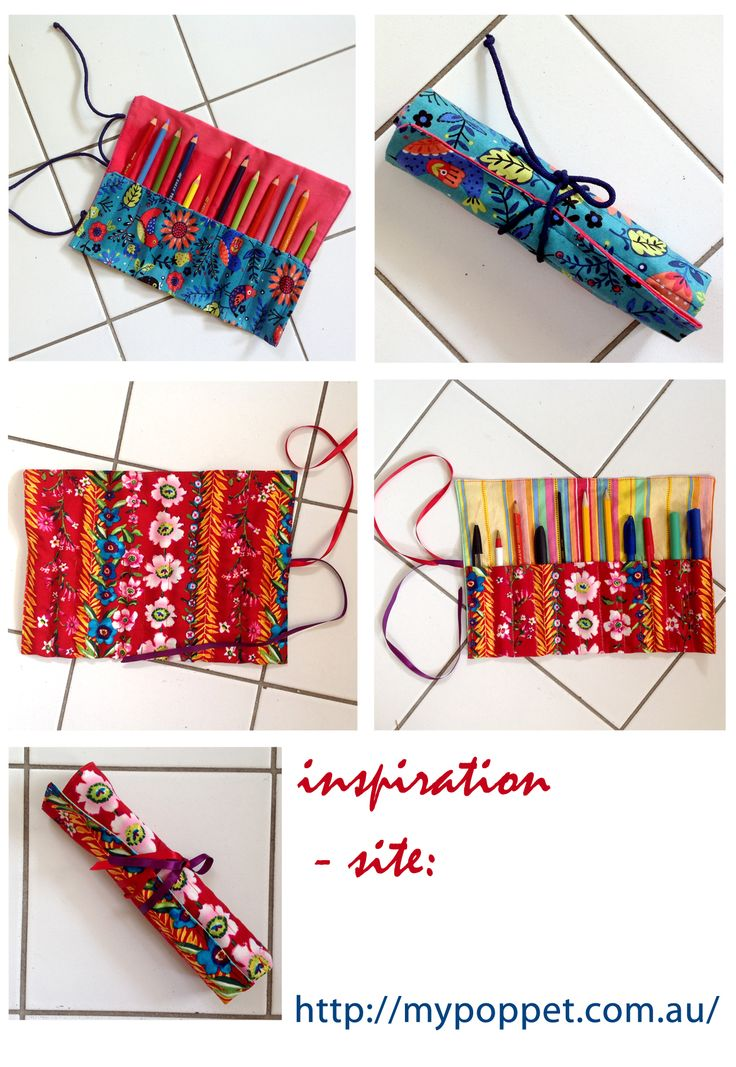 étui à crayons DIY pencil case DIY пенал для цветных карандашей excellent tuto sur http://mypoppet.com.au/makes/2009/09/10-minute-pencil-roll-tutorial.html