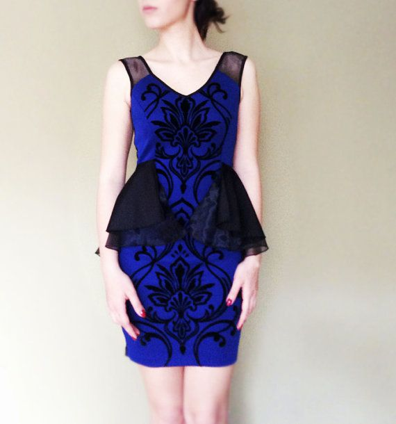 Blue  Black dress with transparent and velvet by pookadesign #blue #black #dress #etsy