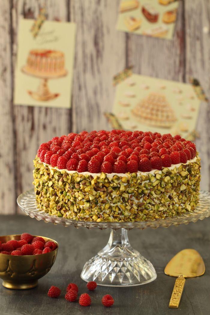 Gâteau de framboise, mascarpone et pistache