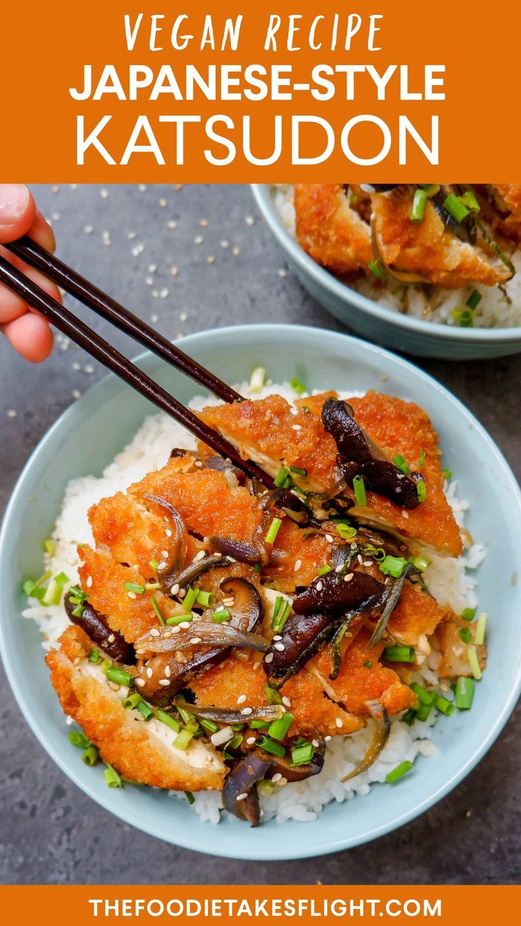 Japanese Style Katsudon Rice Bowls Vegan Recipe Recipe Japanese Vegetarian Recipes Vegan Asian Recipes Vegan Japanese Food