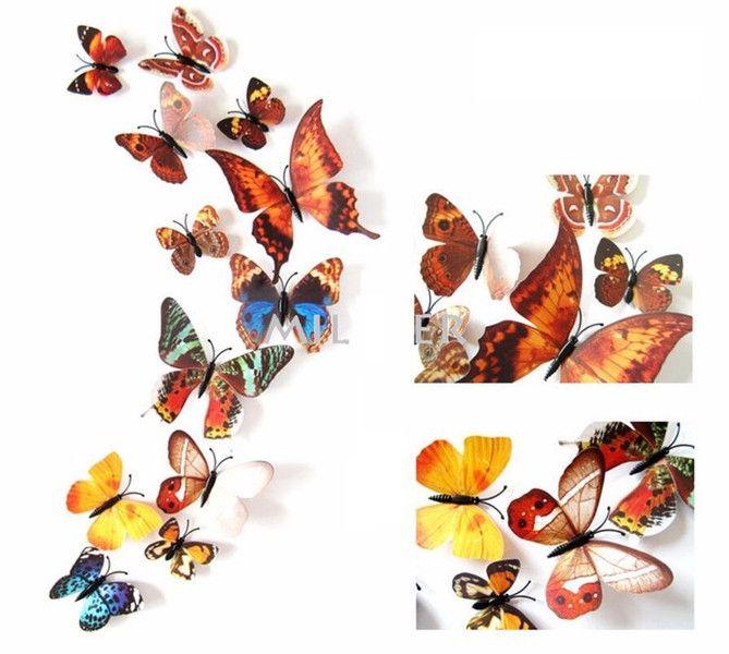 3D Motyle 12 sztuk z magnesem fashion, Dom, Motyl - studs - Dodatki do domu