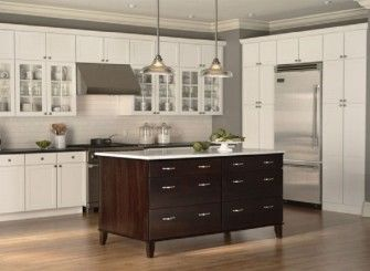 Stunning White Maple Mid Continent Cabinetry with Dark Cabinet Kitchen Island for Spacious Kitchen