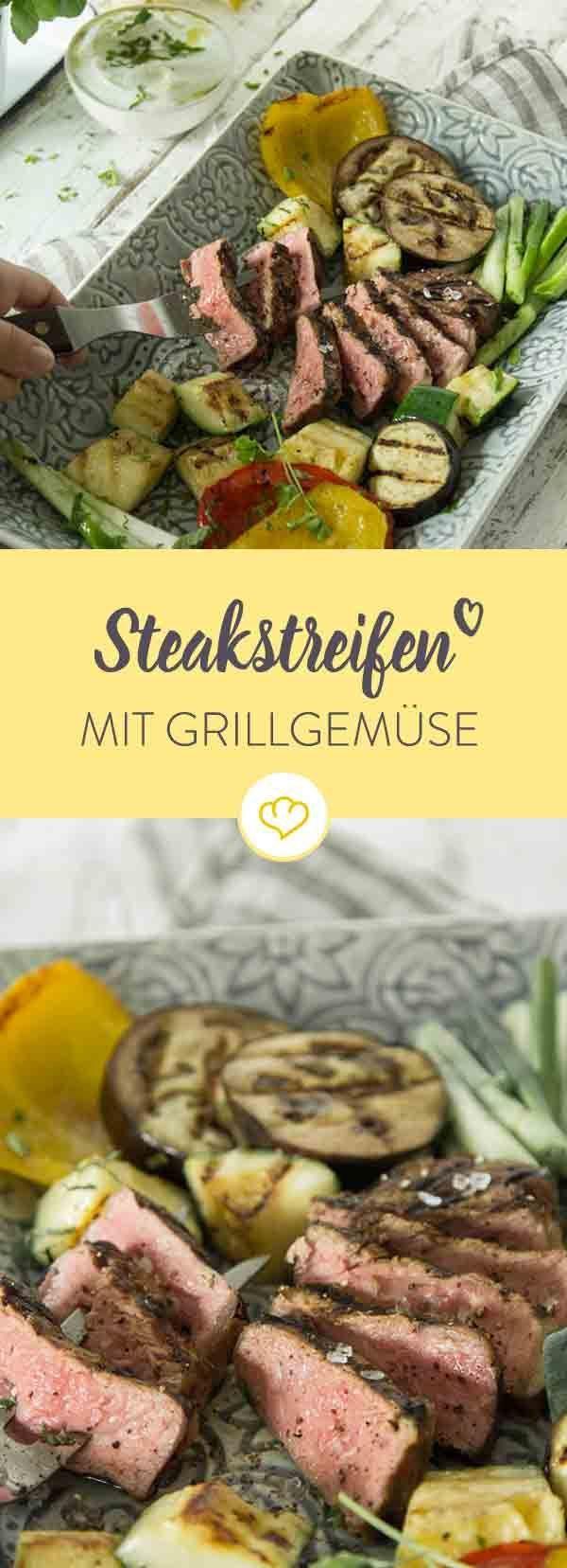 Zück die Gabel und schnapp dir von der Grillplatte, was du am liebsten isst: Knackige Zucchini, Aubergine, Paprika oder zarte Steakstreifen vom Rind.