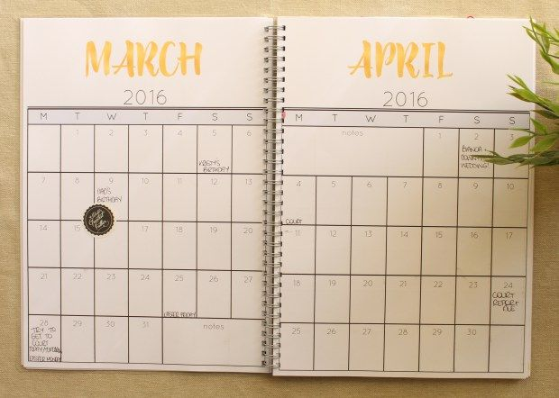 Monthly Calendar spread by Cathartic Malarkey, included in self printed planner pages.