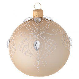 Decoro Albero palla vetro oro/bianco 80 mm | vendita online su HOLYART