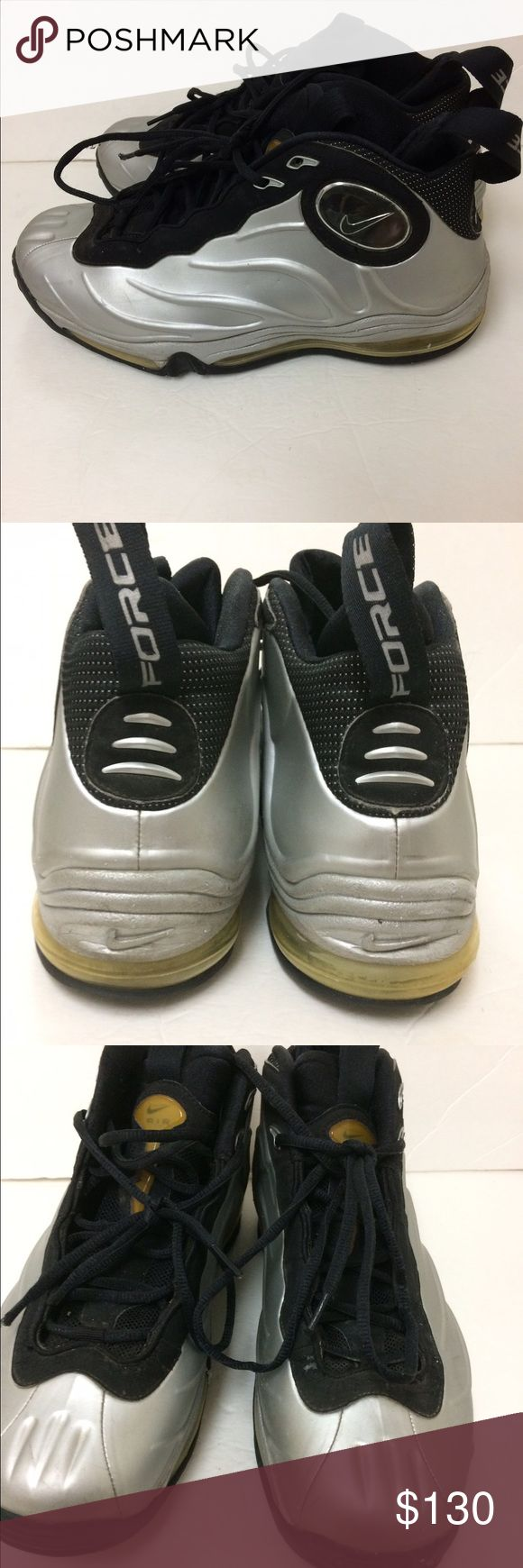 Nike Total  Air Foamposite Tim Duncan Men's silver Grey foamposite gently used. Nike Shoes Athletic Shoes