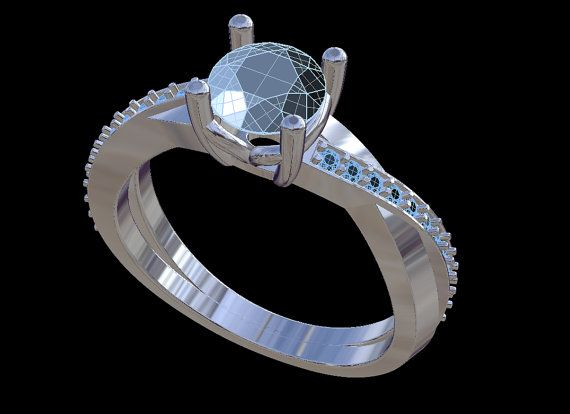 Solitaire With Side Diamonds 3D CAD STL File by PiettroJewelry, $18.00
