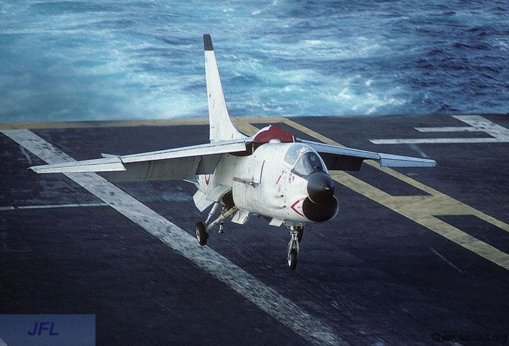 1985, French Marine Nationale Aeronavale 12F-1 Vought Crusader about to hook 1st wire.