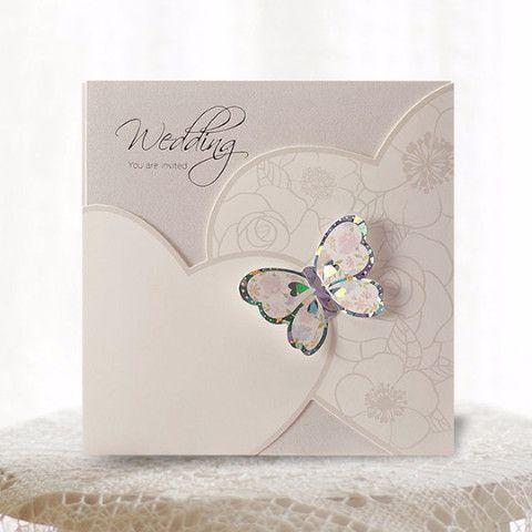 White Pocket Butterfly Wedding Invitations - Cho 1833 | ItsInvitation More