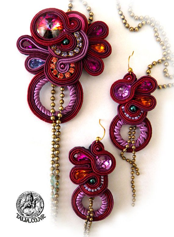 Soutache pendant  earrings in Red by SoutacheTalia on Etsy, $180.00