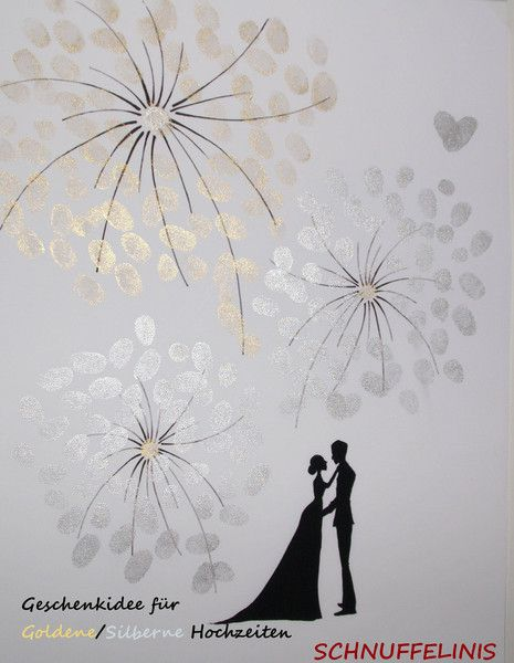 Another - Fingerprint Poster, Golden / Silver Wedding - a unique product by Schnuffelinis on DaWanda