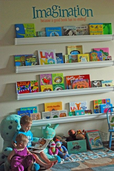 Rain gutter book shelves (plus 20 other Cool Ways to Display Children's Books )