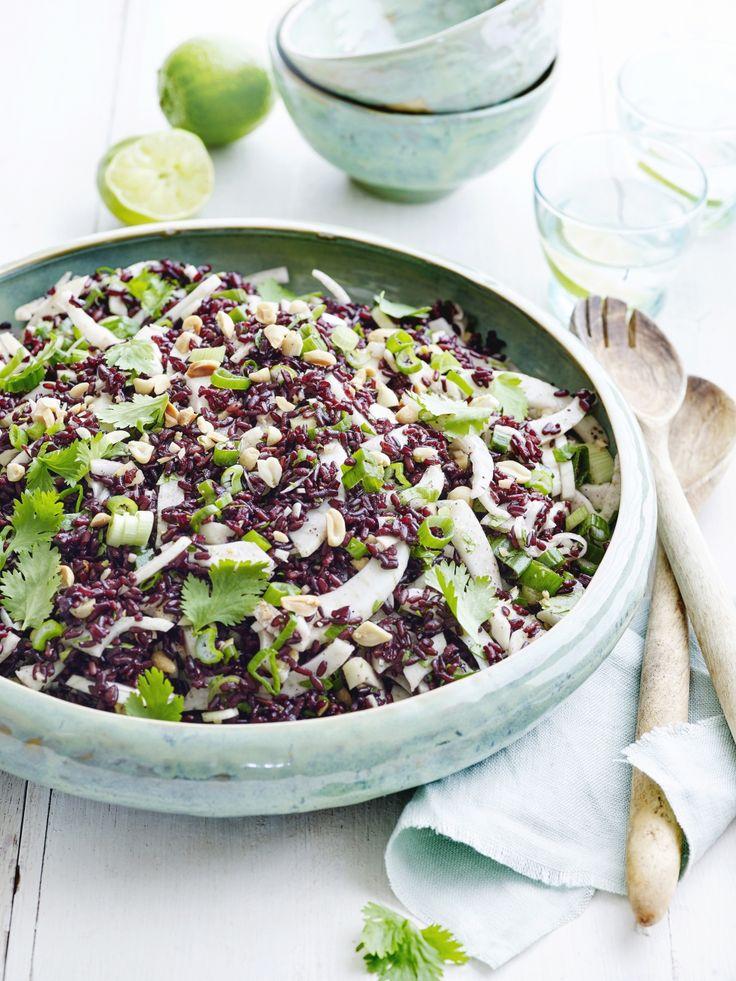 salade van wilde rijst met venkel en kruiden (1 citroen, koriander, gember, lenteui en pinda's) Pascale Naessens
