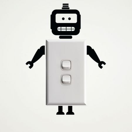Robot wall sticker for light switches and power points