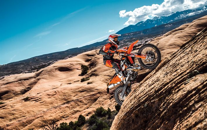 Download wallpapers KTM 500 EXC-F, 2017 bikes, rider, offroad, Eurosport Asheville, austrian motorcycles, crossbikes, KTM