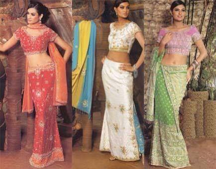 Sári -  Nome dado ao traje indiano, feminino, em que o tecido da saia é levantado até abrigo para os ombros. São 6 metros de tecido fino, seda ou algodão, que se pregueia em torno da  cintura, enfiando-se no cós de uma anágua de tecido pesado, ajustada ao quadril e abrindo levemente.  Embaixo, a ponta remanescente –   a partir do meio da frente –   é   levantada e passada sobre os ombros  ou sobre a cabeça. O sári é   usado com uma pequena blusa de mangas muito curtas, que mal chega…