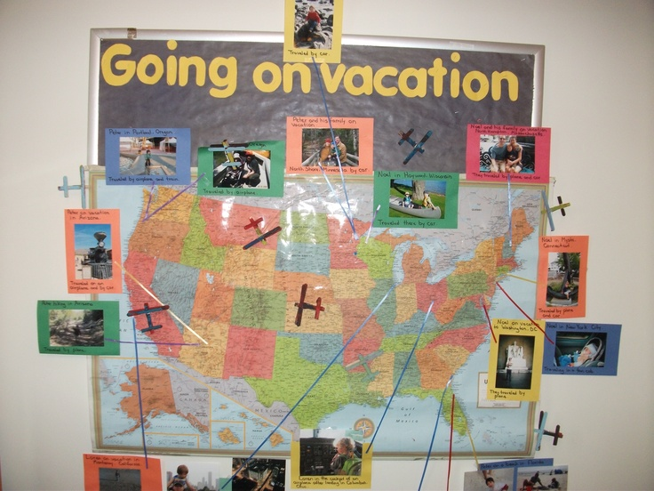 Families sent in pictures of vacations they had been on in the United States. The photos were placed around the map and we used this display to talk about our country and what forms of transportation we could use to get from place to place. (A world map was posted on another wall in the classroom for vacations that were taken outside of the United States.) We also made craft stick airplanes to add to the display.