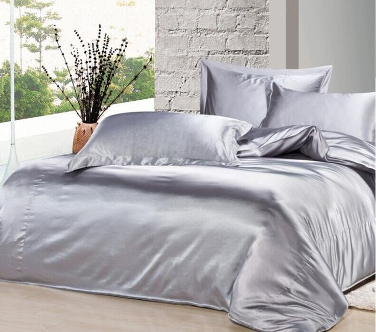 custom size spring summer luxury silver grey mulberry silk satin bedding set king size comforter sets queen full twin duvet cover