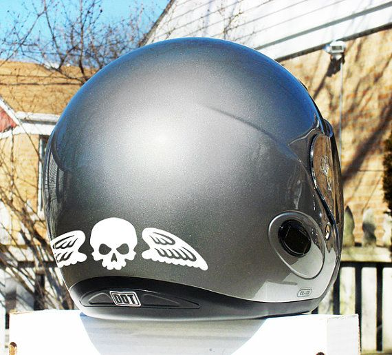 Little Skull with Wings Hyper Reflective Decal Motorcycle Helmet Safety Sticker Set