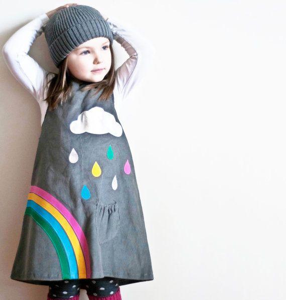 girls dress rainbow raindrops cloud grey by wildthingsdresses