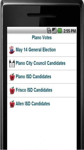 Free!  Quickly research candidates for the upcoming Plano, TX election.  <p>Busy but still want to be a good citizen?  Have you ever wished you could quickly navigate to the official websites of all the candidates for an election?<p>This application makes it easy to get information on all the candidates for the next election in Plano, Texas.<p>All the information is available from other sources if you do research, but Plano Votes pulls everything together for you in one place!<p>If you find…