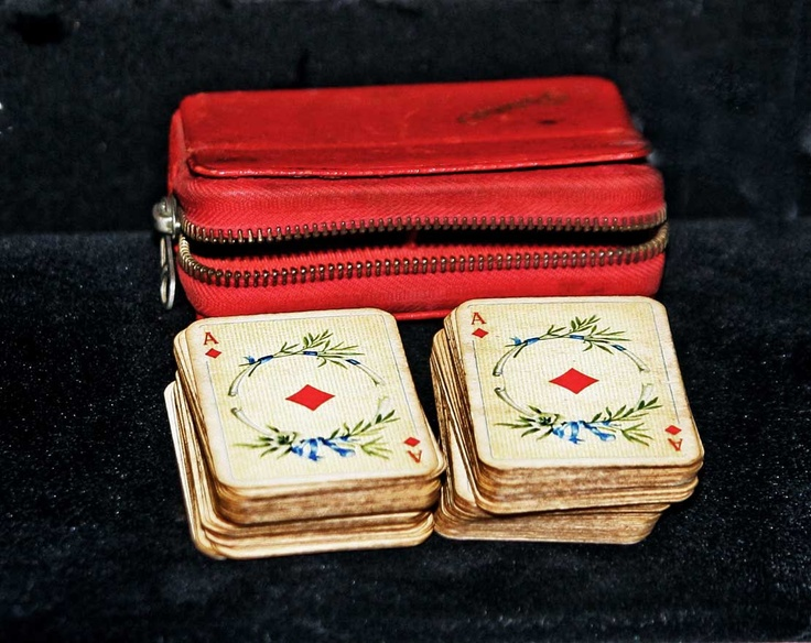Vintage Miniature Playing Cards in Original Solitaire/ Patience Traveling Set. $24.00, via Etsy.
