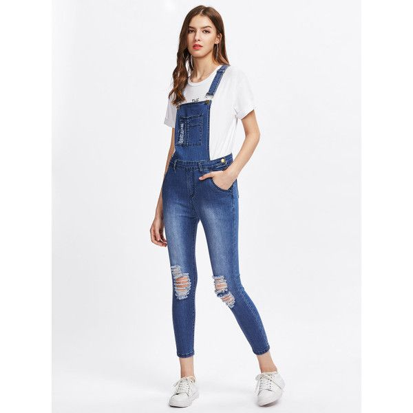 Bleach Wash Knee Ripped Denim Overalls (91 BRL) ❤ liked on Polyvore featuring jumpsuits, blue, bib overalls, blue jumpsuits, romper jumpsuit, white overalls and denim overalls