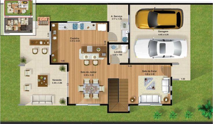 Planta terreno 10x25 parte baixa plantas construindo for Casa moderna 140 m2