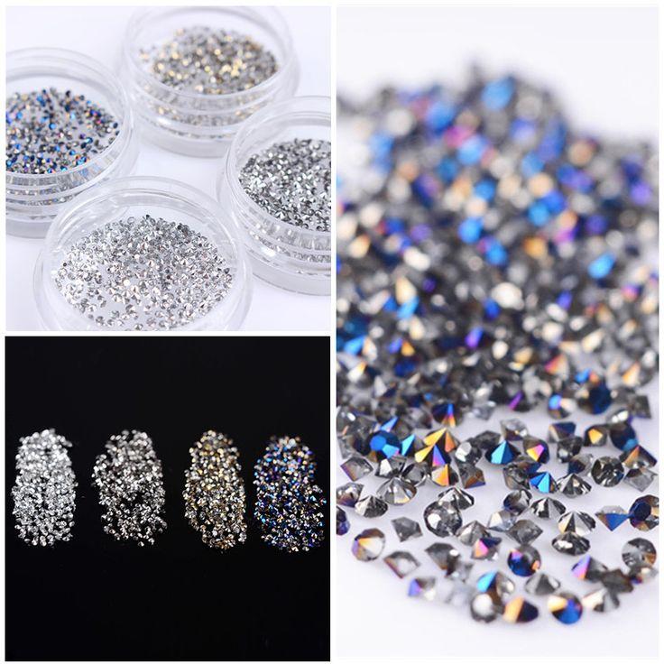 300Pcs/Bag Shining Micro Rhinestone 1.2mm Sharp Bottom 3D Manicure Nail Art Decoration Accessories