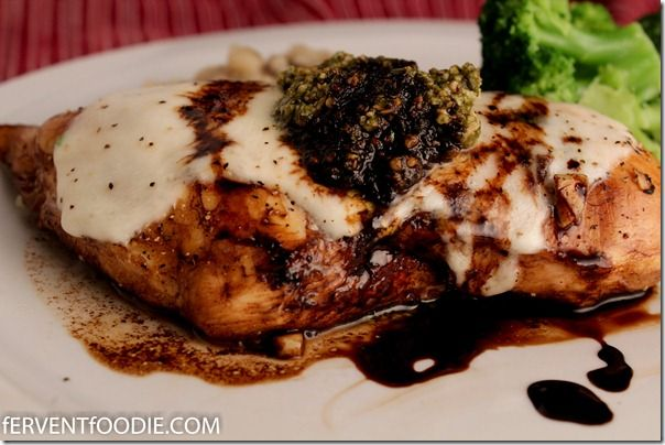 baked chicken breasts with mozzarella, basil pesto and balsamic ...