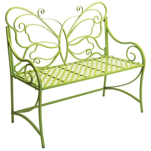 Butterfly Back Basketweave Bench Citron   The Butterfly Back Basketweave  Bench Citron Is Constructed Of Sturdy Wrought Iron. Finished In A Whimsical  Citron ...