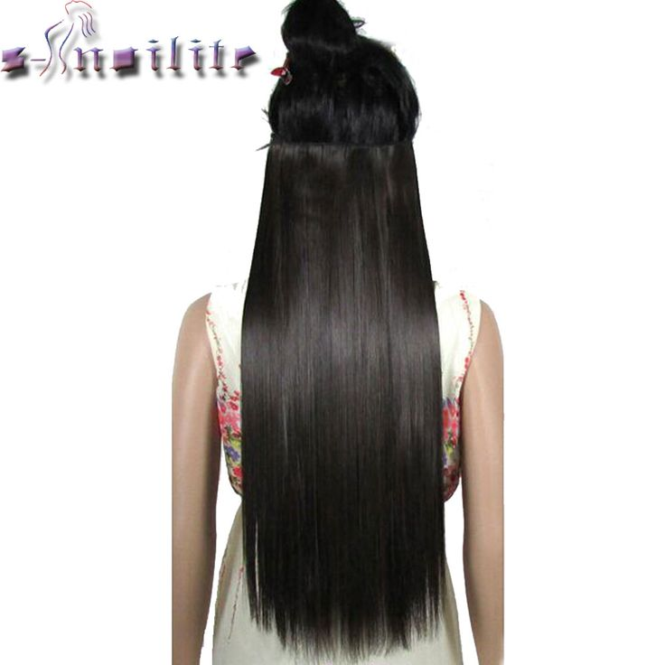 S-noilite 18-30 inches Clip in remy Hair Extensions 3/4 Full Head 5 Clips Hair Extention Synthetic Real Natural Hairpiece