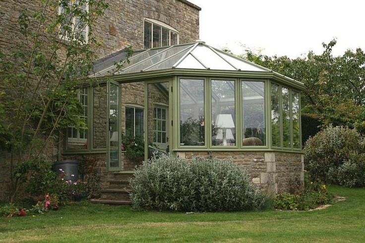 I am crazy about olive green which does not exclude the painted frame on this conservatory.