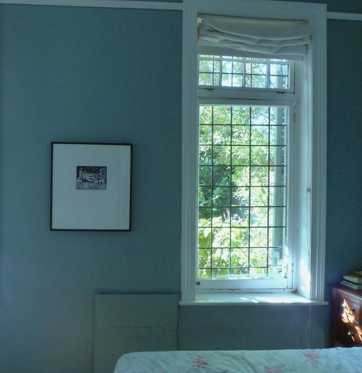 Linocut artwork by Sophie Peters looks perfect in the bedroom