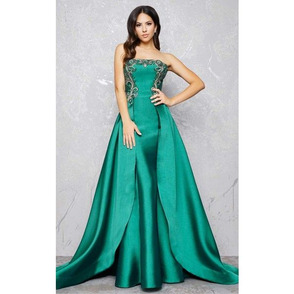 Mac Duggal 80668 Prom Dress 2017 Long Strapless Sleeveless (920 CAD) ❤ liked on Polyvore featuring dresses, emerald green, formal dresses, emerald green formal dress, glitter prom dresses, strapless prom dresses, cocktail dresses and cocktail prom dress